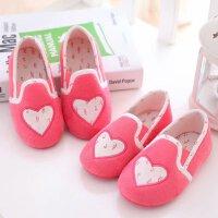 秋冬女儿童拖鞋宝宝软底防滑爱心粉红色包跟居家室内地板幼儿园鞋 西瓜红