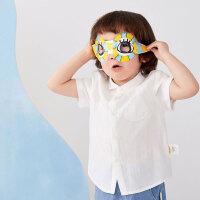 【秒杀价:109元】马拉丁童装男小童衬衫2020夏装新款水果造型口袋短袖白衬衫