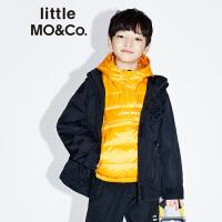 littlemoco秋季新品男童外套2019新款反光条拼接连帽儿童外套休闲