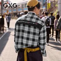 GXG男装  秋季流行拼接黑白格子英文刺绣休闲长袖衬衫衬衣男