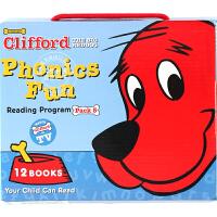 现货 英文原版 Clifford 大红狗自然拼读绘本套装系列5 带CD 全套12册 盒装 学乐