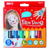 AMOS 6色人体彩绘旋转可水洗蜡笔(化妆品安全级别韩国进口)彩绘脸彩蜡笔儿童化妆彩笔脸彩画笔 当当自营