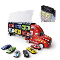 仿真小汽车模型男孩儿童玩具车手提货柜车小孩收纳盒12合金滑行