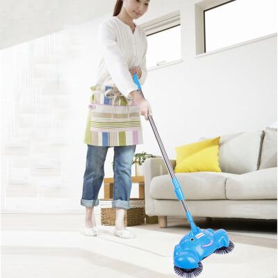 手推式扫地机不用电吸尘器 家用地板清洁器 手动洁地机懒人扫把扫把簸箕组合套装 扫拖二合一 家用扫帚笤 颜色随机 手推式扫地机