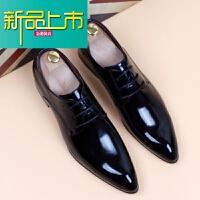 新品上市韩版潮流皮鞋尖头透气漆皮男鞋内增高商务正装休闲亮皮纯色婚鞋