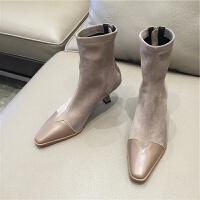 2019网红同款方头拼接弹力靴袜子靴细跟高跟牛皮马丁靴短靴女靴子