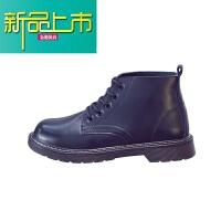 新品上市18新款冬季马丁靴男真皮靴子加绒中帮大头靴潮流百搭英伦高帮鞋