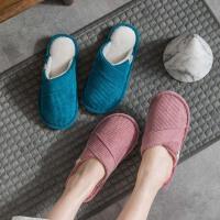 新款棉拖鞋女冬季室内家用月子防滑情侣家居家毛绒保暖秋冬男