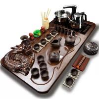 功夫茶具套装全套自动电热磁炉套装全黑紫砂原矿盘龙四合一套装功夫茶具套装
