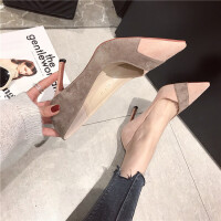 2019春季新款时尚高跟鞋女细跟尖头单鞋拼色百搭时尚通勤单鞋女鞋