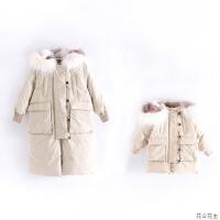 原创亲子冬新款女童羽绒服加厚真毛领中长款宝宝儿童外套母女