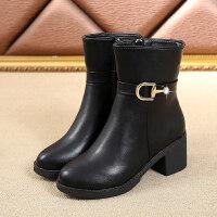 秋冬季靴子小黑皮靴短筒粗跟平底切尔西短靴骑士靴马丁靴简约