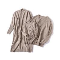 2019新款亲子装毛衣开衫外套一家三口全家装羊毛开衫中长款男童秋装毛线外套 卡其色