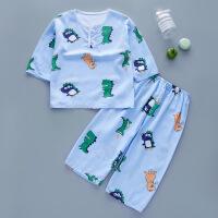 夏天儿童棉绸宝宝睡衣1长袖2岁半3薄款4小童5男女童8空调屋套装多