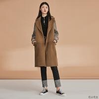 女装冬装新款韩版格子拼接袖毛呢大衣女中长款过膝毛呢外套 中 性