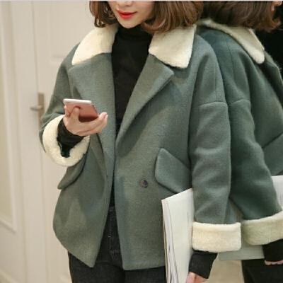 毛呢外套小个子矮短款2019女装冬季宽松羊羔毛领加厚  XS 75-80斤左右穿 由于快递停运,店铺于1月25日至2月13日放假,期间产生的订单将于2月15号前发