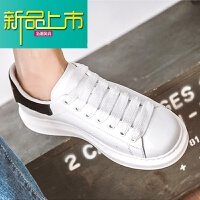新品上市19新款小白鞋男增高韩版情侣休闲厚底冬季百搭真皮松糕板鞋