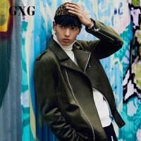【GXG&大牌日 2.5折到手价:267.25】GXG男装 秋季男士时尚都市青年深绿色时尚潮流翻领棉夹克外套男
