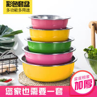 不锈钢盆五件套圆形厨房家用加深加厚盆套装汤盆打蛋洗菜盆