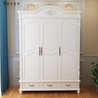 三门衣柜大衣柜组合卧室衣橱 美式乡村田园衣柜 象牙白 3门