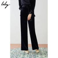 【2件4折到手价:199.6元】 Lily春新款女装商务丝绒通勤显瘦腰带直筒阔腿裤119110C5207
