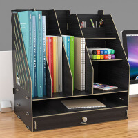 简易书架 买就送多功能笔筒儿童落地置物书柜简约学生用防水桌面加宽加大书架储物柜子
