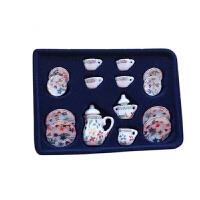 1:12娃娃屋小屋迷你陶瓷成品模型�Y品玩具 15�^茶具碗碟套餐具