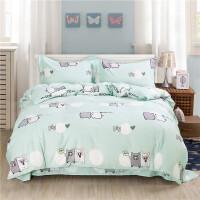 三件套学生宿舍单人幼儿园套件 棉宝宝套件1.2米1.5m 1.8床k 浅绿色 小猪 0.8床三件套 适用150x200