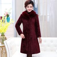 羽绒服秋冬新款羊剪绒大衣女中长款高贵气质中年妈妈装领皮草外套