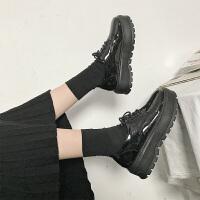 英伦风女鞋秋冬季复古厚底单鞋高跟漆皮系带百搭松糕软妹小皮鞋女 黑色