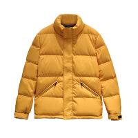 时尚新款加厚冬季男装2018新款黄色翻领白鸭绒短款潮流男羽绒服外套111627G 黄色