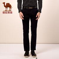 骆驼男装秋季新款男士休闲裤 修身纯色青年男士长裤