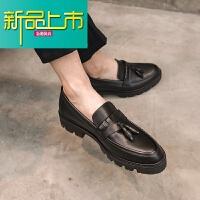 新品上市冬季小皮鞋男英伦时尚休闲鞋韩版一脚蹬懒人鞋型师厚底潮鞋