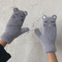 冬季加绒女士手套韩版可爱小猫咪连指针织毛绒手套骑车防风
