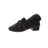 欧美风毛毛短靴低跟方头加绒保暖时装靴2018新款秋冬季外穿懒人鞋