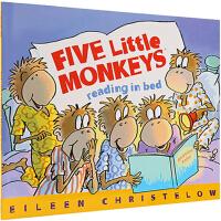 英文原版 Five Little Monkeys Reading in Bed 五只小猴在床上看书 廖彩杏书单 儿童绘