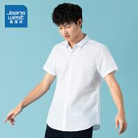 真维斯男装 时尚印短袖衬衫