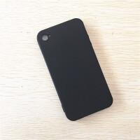 iPhone4S手机壳软卡通苹果4手机套硅胶磨砂黑保护简约透明4S男女 黑色 苹果4/4S
