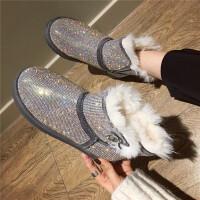 水钻雪地靴女短筒2018新款韩版冬保暖加绒厚底棉鞋女款满钻短靴