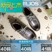 新品上市春季英伦风男士休闲皮鞋复古做旧系带真皮低帮鞋时尚大头鞋潮