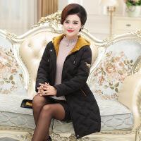 羽绒服妈妈装冬装外套40岁50中年妇女连帽服洋气阔太太女