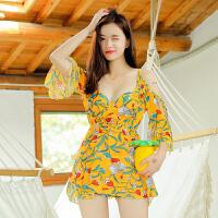 泳衣女士分体比基尼三件套时尚性感罩衫泡温泉长袖韩国温泉小香风遮肚