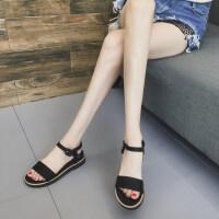 一字扣凉鞋女新款夏季厚底休闲女生鞋韩版松糕滑沙滩鞋