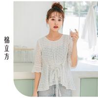 白色宽松雪纺衫女夏季2019新款棉立方洋气时尚韩版甜美女装上衣