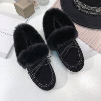 豆豆鞋女2018冬季新款韩版平底滑加绒毛毛棉鞋百搭孕妇保暖鞋