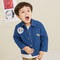 【1件5折后到手价:234.5元】马拉丁童装男小童牛仔衣2019新款秋装时尚廓形个性小翻领衬衫外套