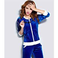 新款女裤精品女装时尚修身卫衣  韩国绒天鹅绒时尚休闲运动服套装