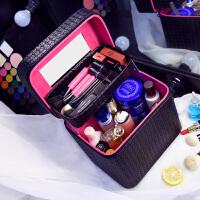 大容量化妆包双层便携手提化妆箱大号简约化妆品收纳盒旅行小方包