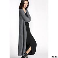 超长款女士山羊绒开衫过膝毛衣秋冬厚毛衣纯色针织衫披肩外套欧美