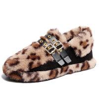 2018秋冬季新款加绒豆豆鞋学生豹纹皮带扣毛毛鞋厚底保暖雪地靴子